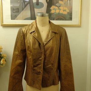 A.B.S Evening Distressed Gold Leather Jacket